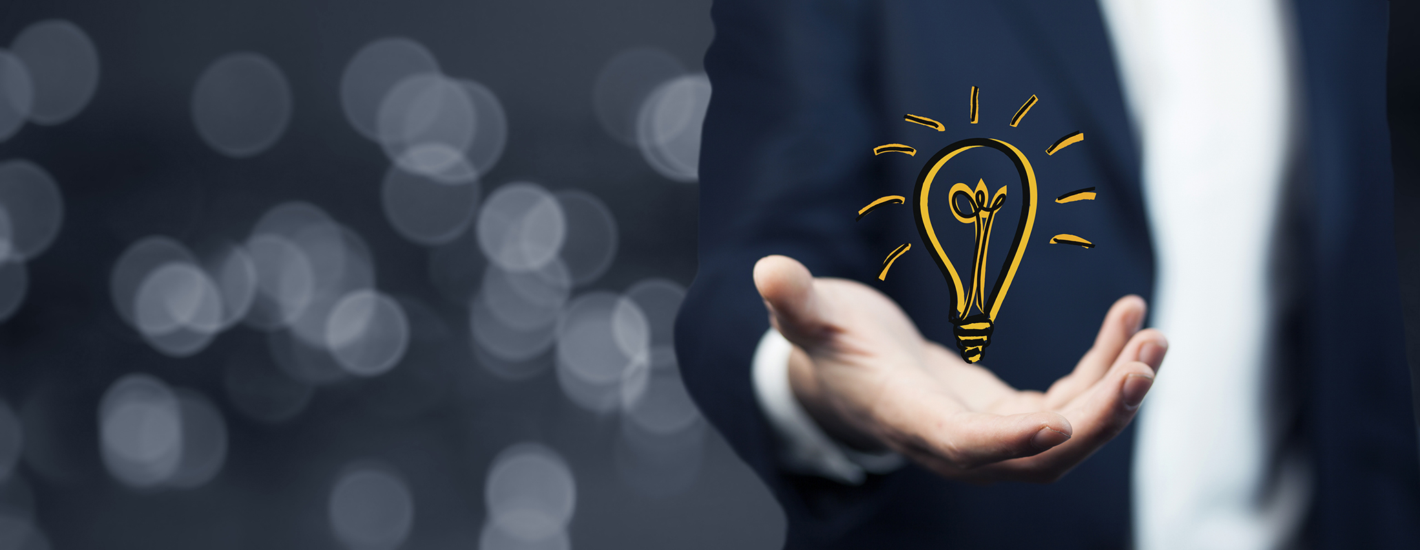 bulb on hand , Business idea ,business concepts
